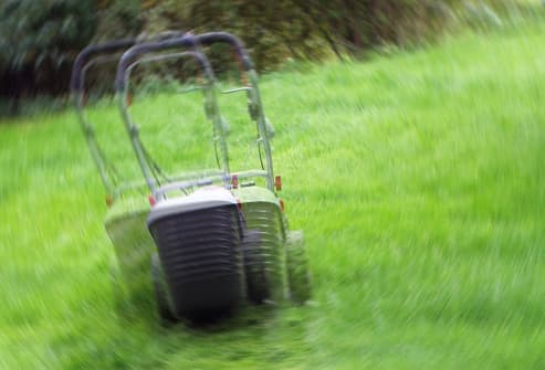 double vision lawnmower in yard