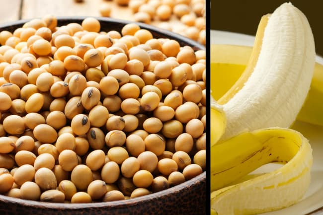 photo of soybeans and banana