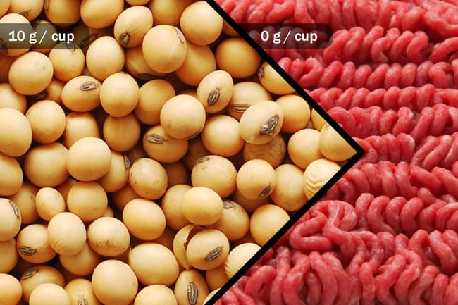 photo of soybeans and ground beef