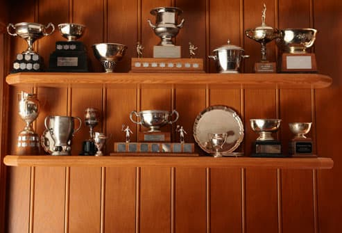 Trophies On Shelf At Home