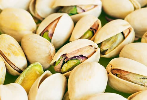 Pistachio nuts (pistacia vera), close-up