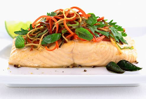 salmon steak with vegetable topping