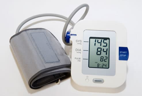Blood Pressure Monitor Showing Stage1 Hypertension