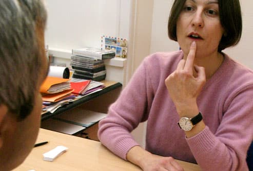 Speech Therapist Helping Stoke Patient