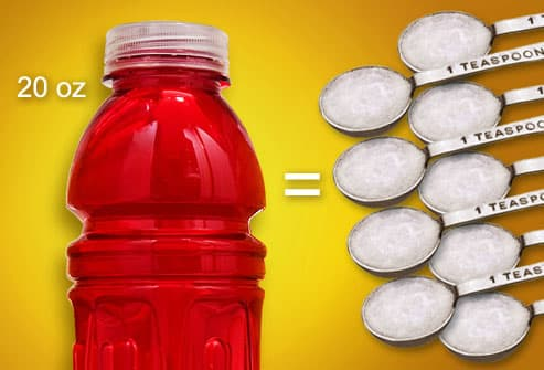 Sports drink equaling nine teaspoons of sugar