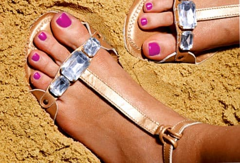brightly painted toenails