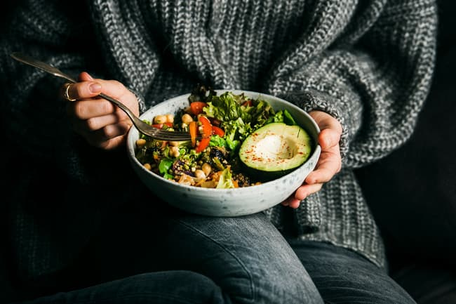 photo of person with salad