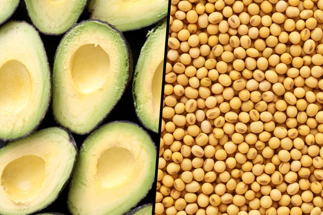 photo of avocado and soybean diptych