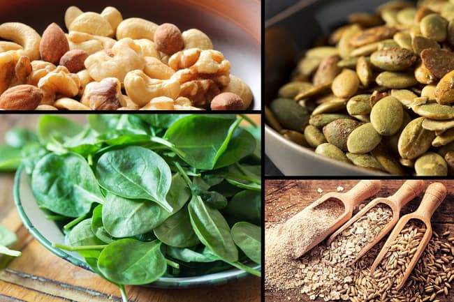 photo of nuts, seeds, grains and greens montage