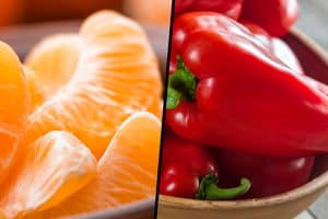photo of orange wedges red bell peppers diptych