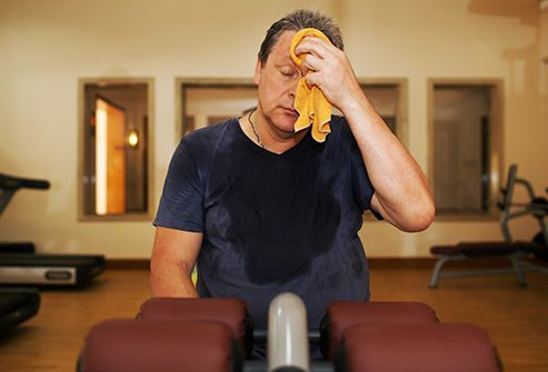 man sweating in gym