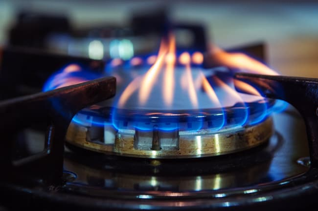 photo of gas burner on stove