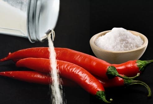hot peppers with salt and sugar