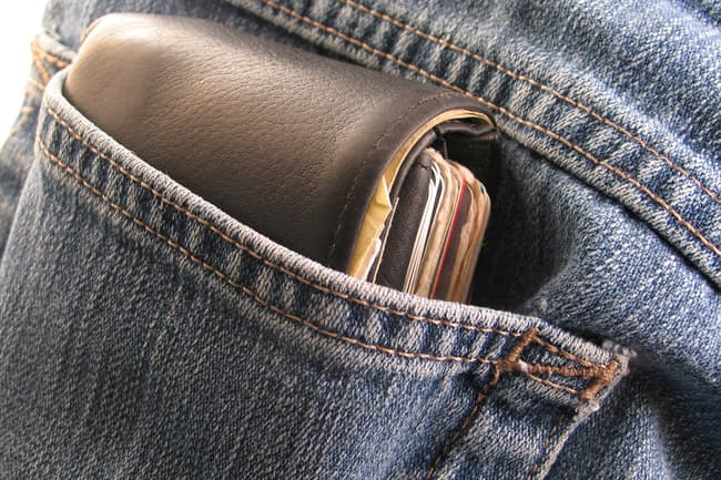 photo of large wallet in pants pocket