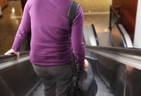 Woman Struggling With Laptop Bag