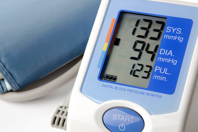 photo of high blood pressure reading
