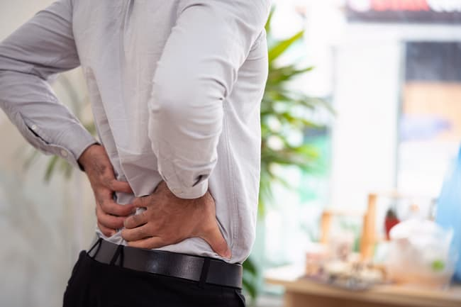 photo of man with sore back