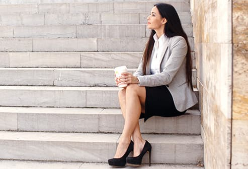businesswoman taking a break