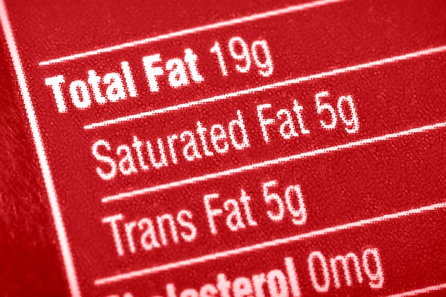 photo of trans fat label