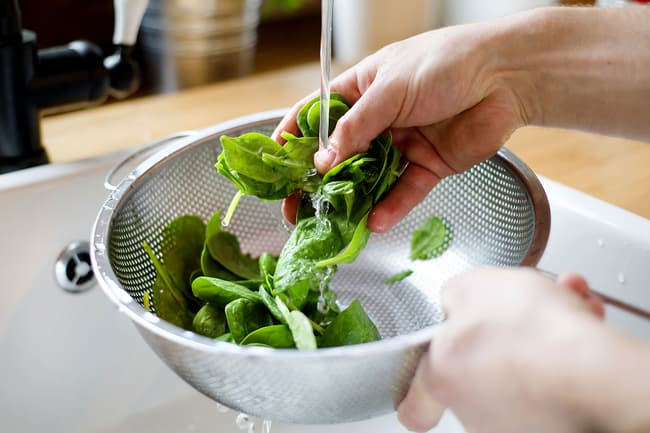 photo of washing spinach