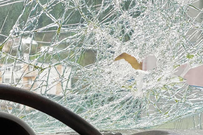 smashed windshield