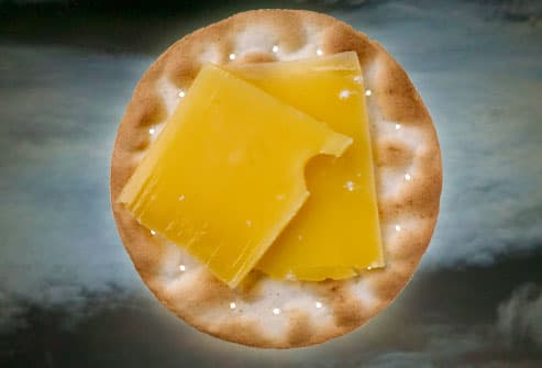 Cheese and cracker in moonlight