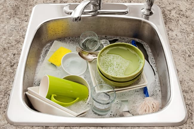photo of dirty dishes in sink