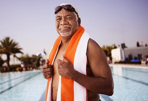 man at swimming pool