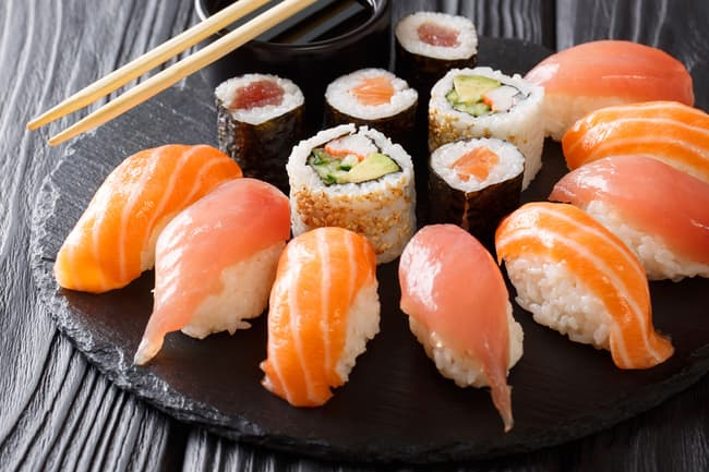 photo of plate of sushi
