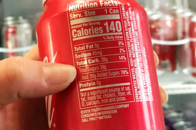 photo of nutrition facts on soda can