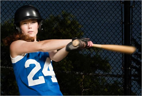 Woman Playing Softball