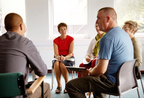 Support group engrossed in discussion