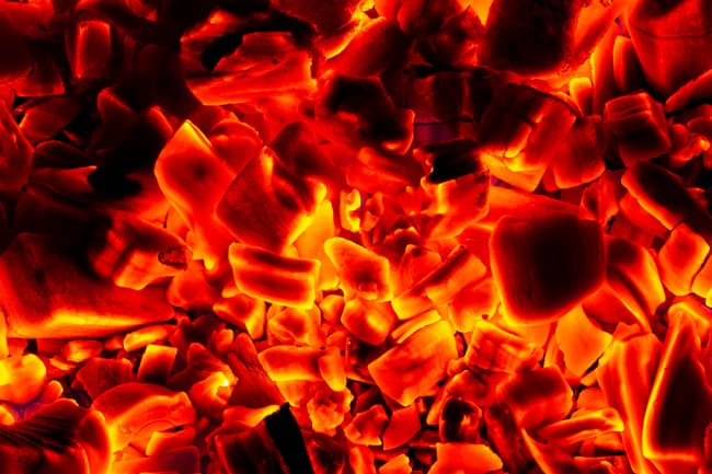 photo of glowing hot charcoal