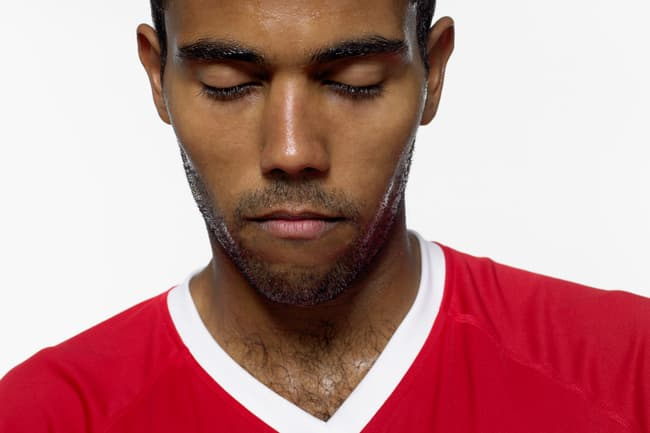 photo of man sweating