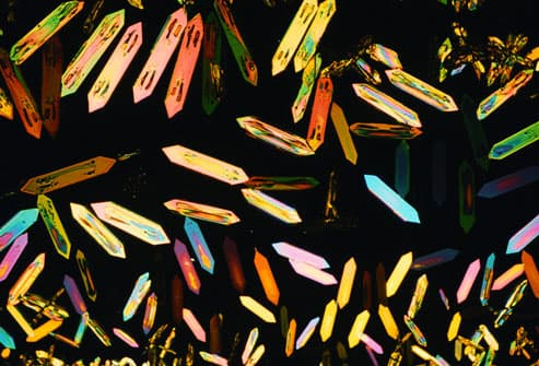 Magnified image of ketone crystals