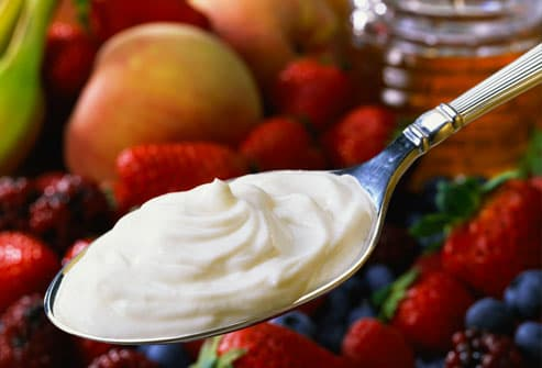 Spoonful of Yogurt and Fruit