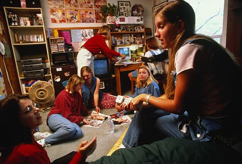 Group of girls in college dorm