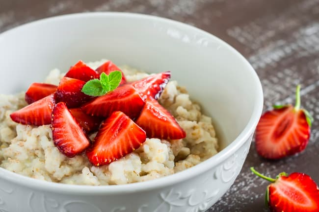 photo of oatmeal and strawberries