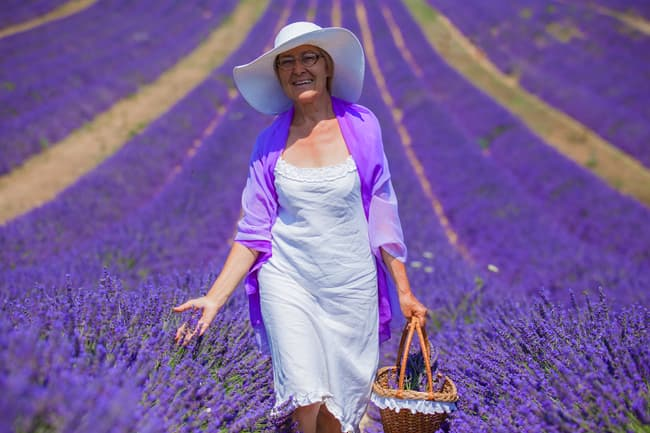 mature woman walks in lavender field