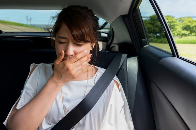 woman car sick