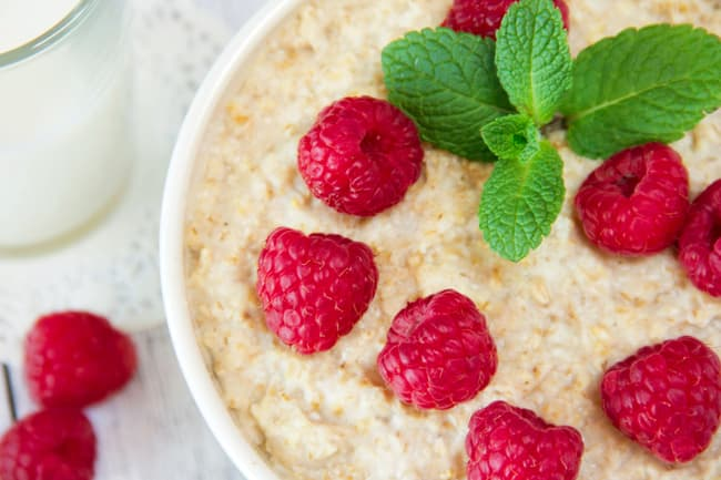 oatmeal and raspberries