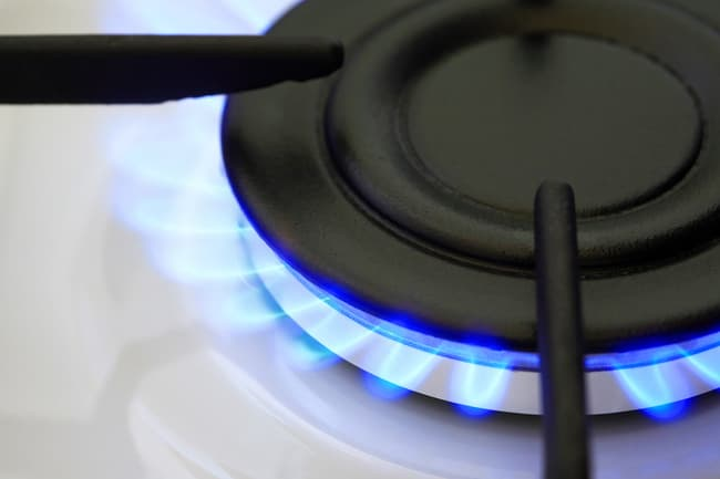 gas stove burner close up