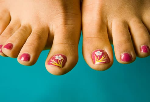 Floral Painting on Toenails