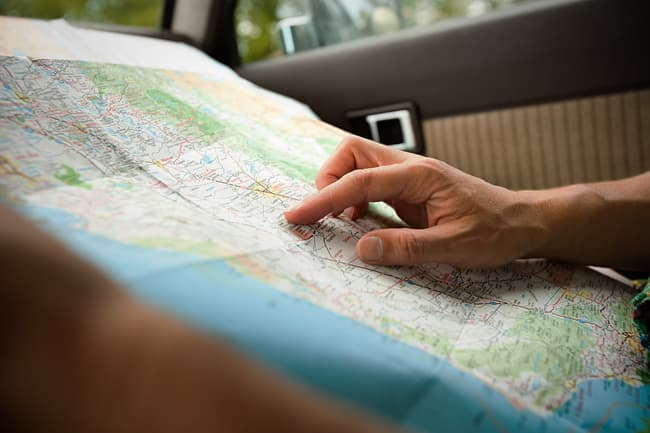 photo of looking at map