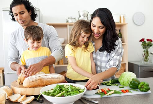 family preparing healthy meal