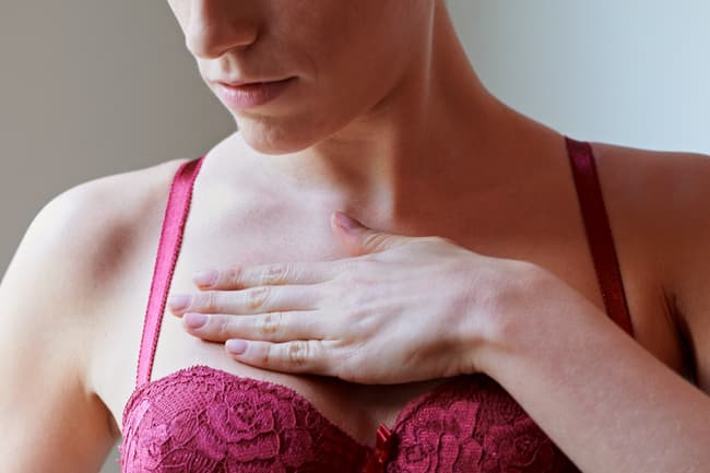 photo of woman with breast pain