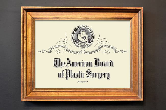 photo of board-certified plastic surgery plaque