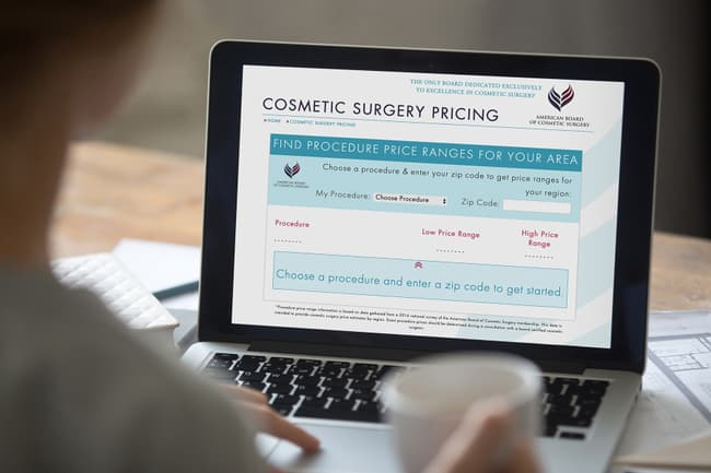 photo of cosmetic surgery website on laptop