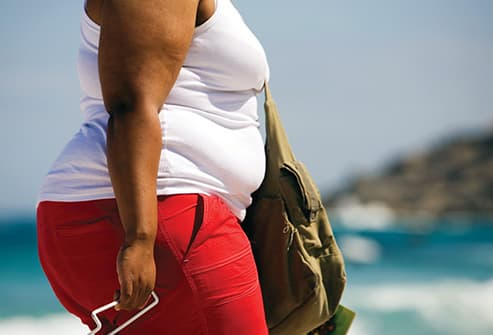 obese woman on beach close up