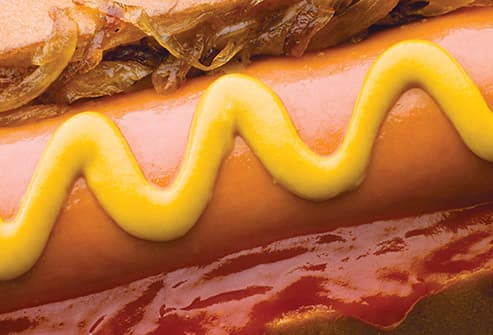 fast food hot dog close up